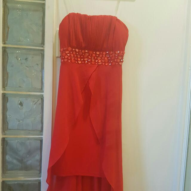 Red Cocktail Dress With Fish Tail