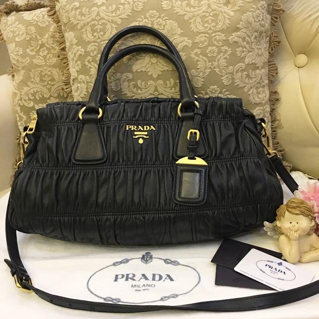 339b6adeb126 Authentic Prada Nappa Gaufre Leather Nero Satchel bag B1407M, Luxury ...