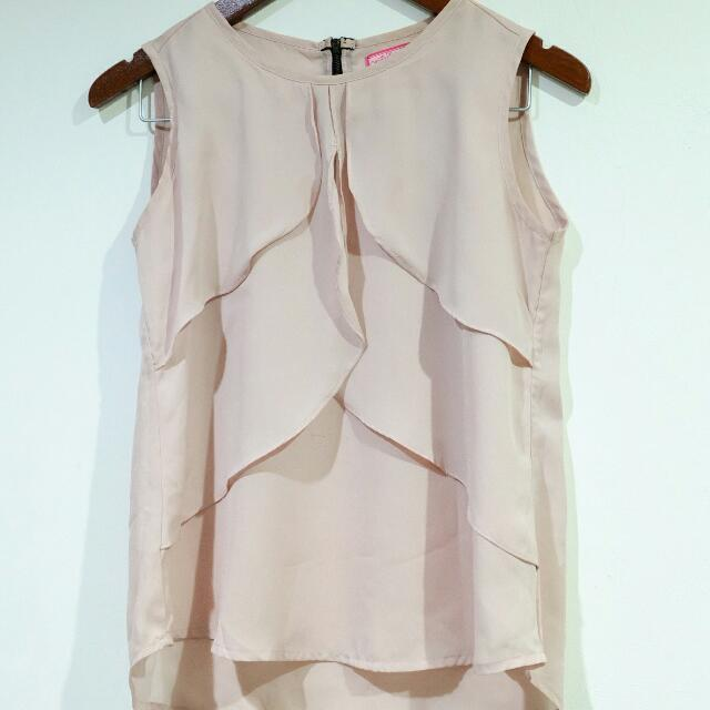 98 DEGREES Ruffle Dusty Pink Top