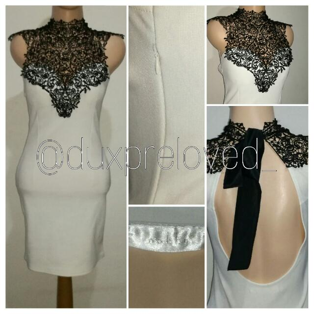 SALE 10% White Brocade Backless Bodycon Dress