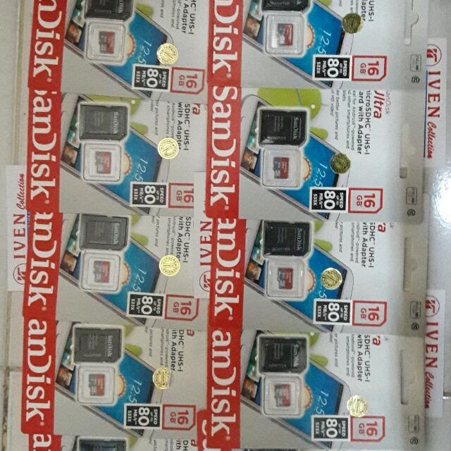 Sandisk microsd 16gb Memory Card / Memori