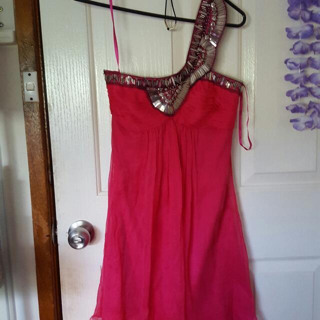 Sheike Raspberry Fairytale Silk Dress Size 6