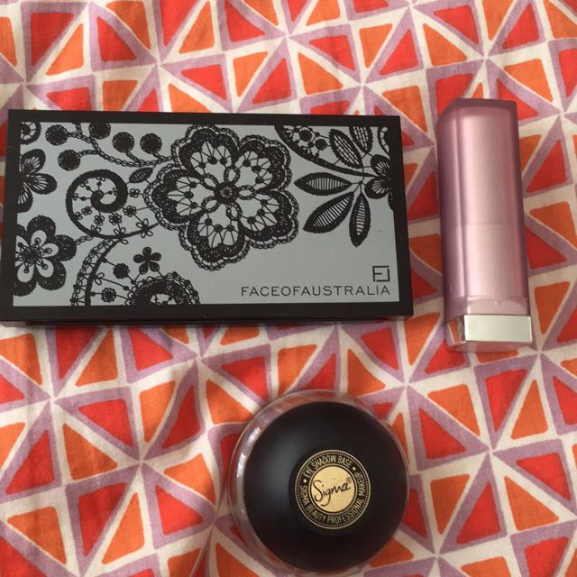 Sigma Eye Base, Maybelline Lipstick In Porcelain Pink And Face Of Australia Foundation In Tan