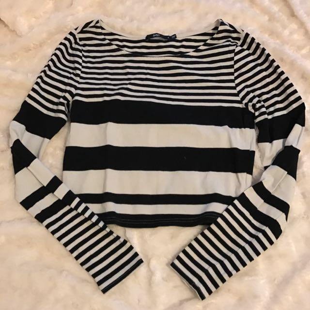 Sportsgirl Longsleeve Stripe Crop Top