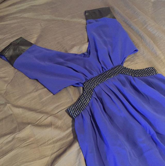 T By Bettina Liano Blue Cutout Dress
