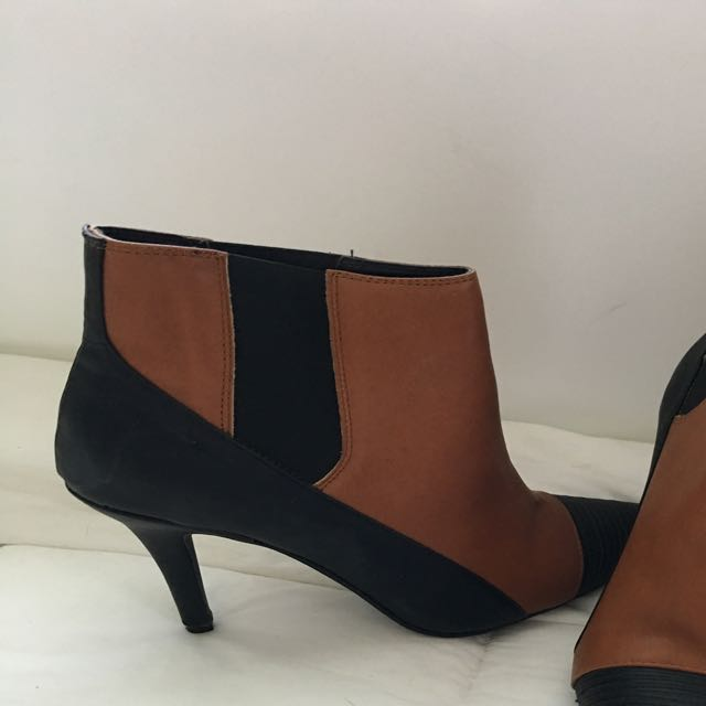 Tan And Black Ankle Boots