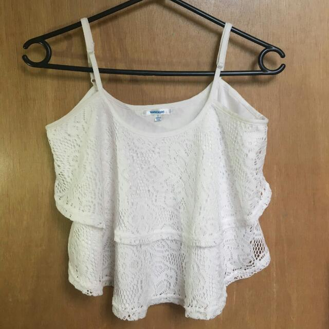 Valley Girl White Lace Singlet