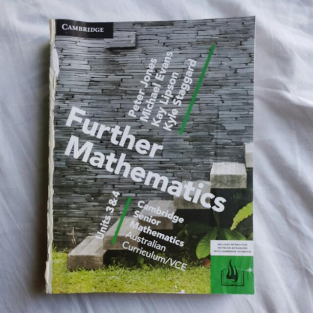 VCE Further Mathematics ORIGINAL Units 3&4 Textbook (Cover Ripped Off)
