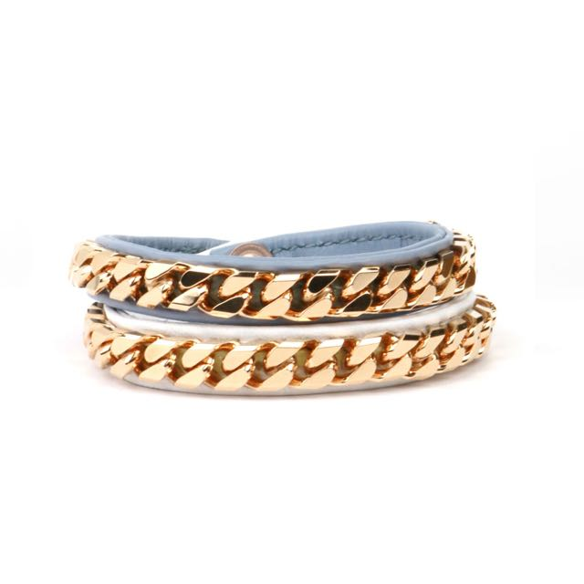Vita FEDE  灰丁寧藍x純淨白 雙圈皮手環