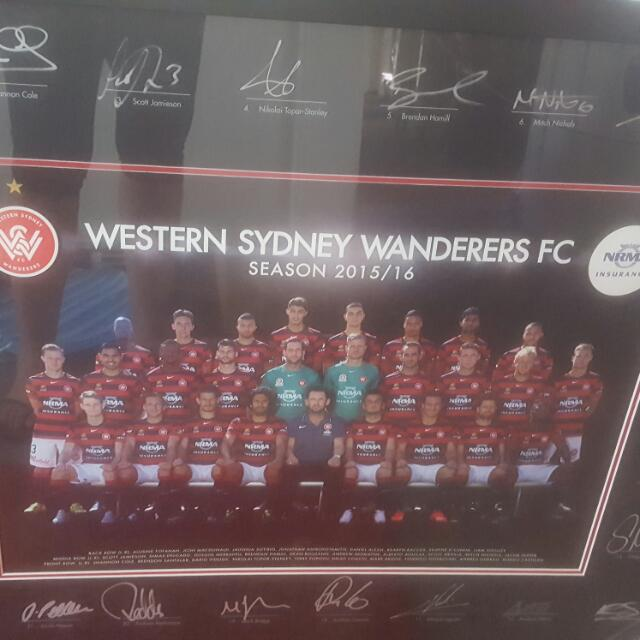 Western Sydney Wanderers Signed and Framed Team Poster 2015/16