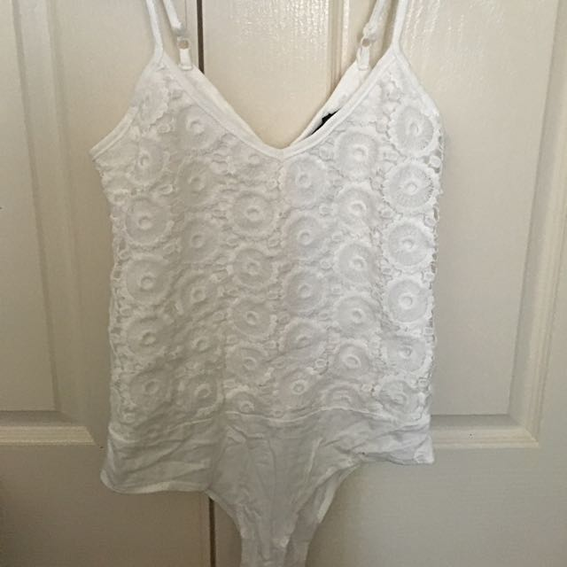 White Floral Lace Leotard
