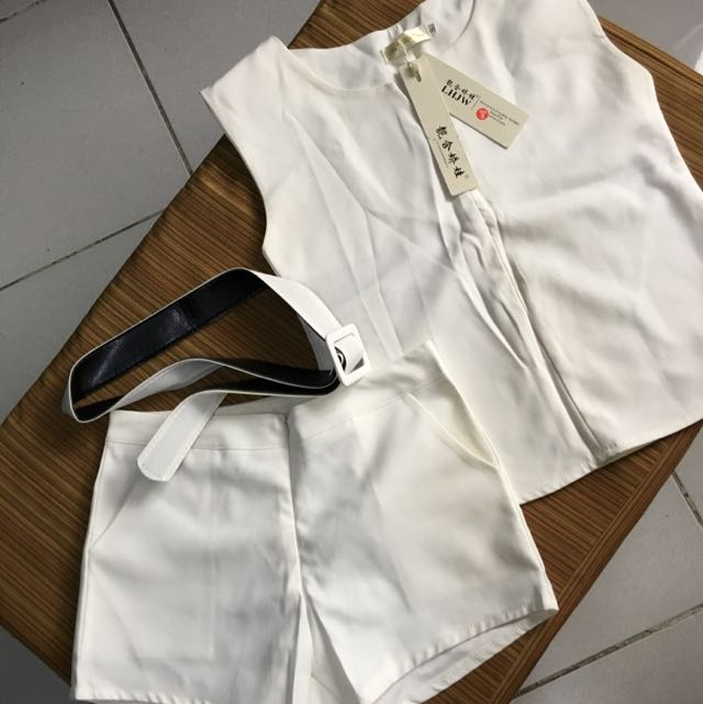 White Terno Sleeves And Shorts