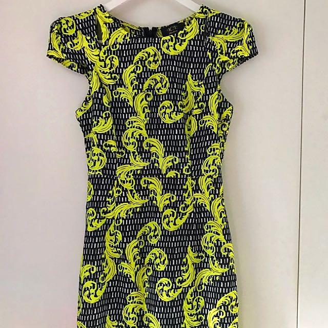 Women's Dress Size S - Ice - Black And Bright Yellow Florentine Print
