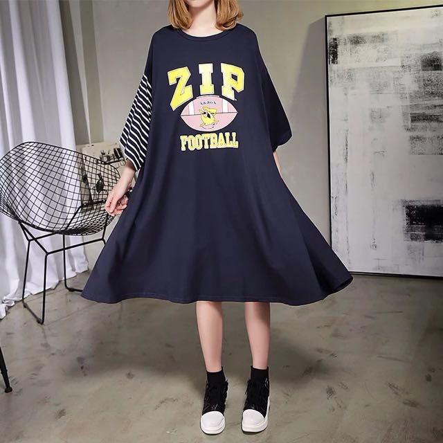 Y2™歐美簡約字母美式條紋拼接七分袖傘狀長版洋裝▪️休閒寬鬆時尚大版中大尺碼顯瘦修身設計款大碼女裝韓版日本代購早春新款