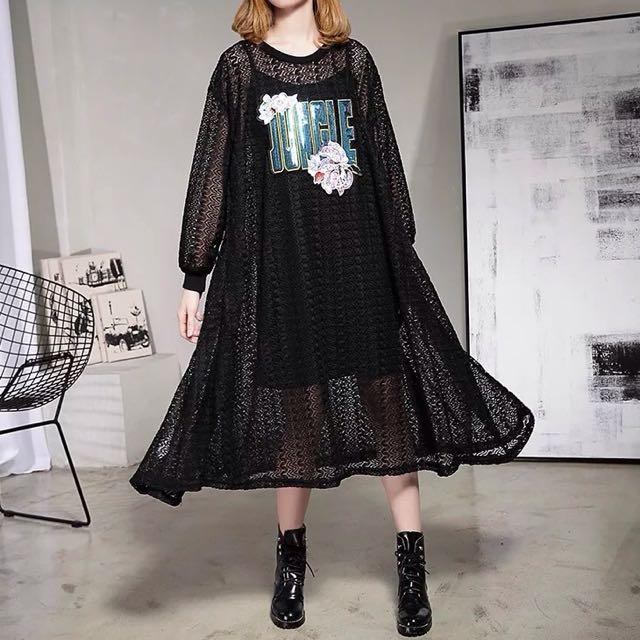 Y2™歐美簡約性感蕾絲亮片拼接長袖傘狀超長版洋裝▪️休閒寬鬆時尚大版中大尺碼顯瘦修身設計款大碼女裝韓版日本代購早春新款