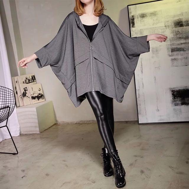 Y2™歐美簡約寬袖蝙蝠袖傘狀長版帶帽外套▪️休閒寬鬆時尚大版中大尺碼顯瘦修身設計款大碼女裝韓版日本代購早春新款