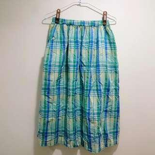 藍綠色格紋長裙