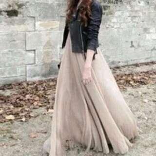 三層長裙 紗裙 豆沙/粉藕色