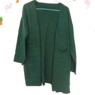 ♡全新♡墨綠色長版針織外套