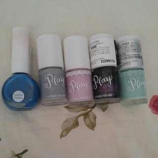 Nail polish: K ~ Holika Holika, etude house, periper