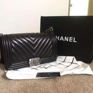 Chanel Old Medium Black Chevron Boy Bag