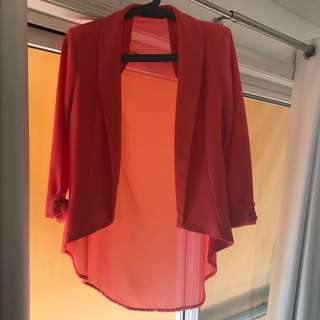 Orange Imprint Blazer Size 12