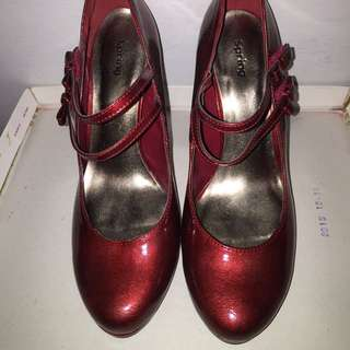 Faux Ruby Red Patton Leather Heels