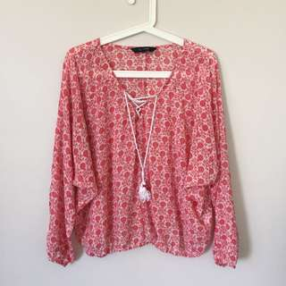 Glassons Floral Lace Up Blouse