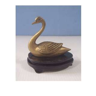 Vintage hand crafted miniature bronze brass swan wood stand circa mid 1900s