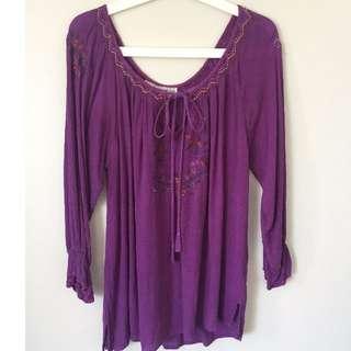 Tree of Life Embroidered Purple Tunic