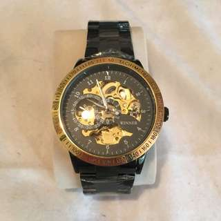 Mens Black And Gold Watch