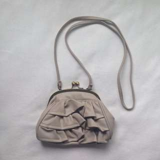 Fake leather frill bag