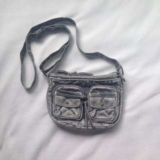 Khaki/ grey fake leather bag