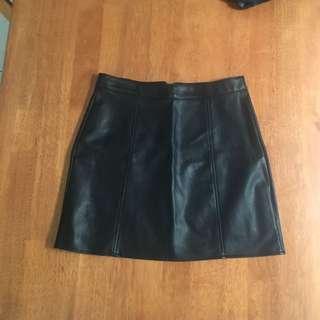 Leather Look Black Mini Skirt