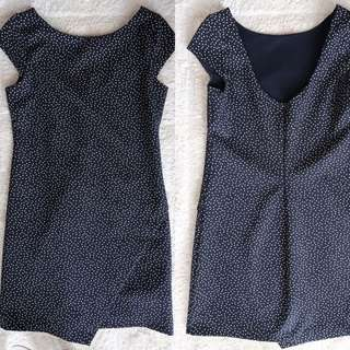 Zara TRF Mini Polka Navy Dress