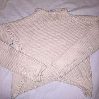 zara ivory knit top