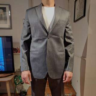 Melange GREY Tailor Made Suit, Hand Picked Cashmere Wool Fabric.