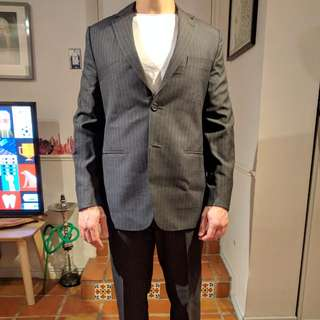 Classic Tailored Pinstripe Suit. In Charcoal Grey 100% Wool. Hand Finished.