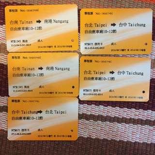 高鐵票根2016
