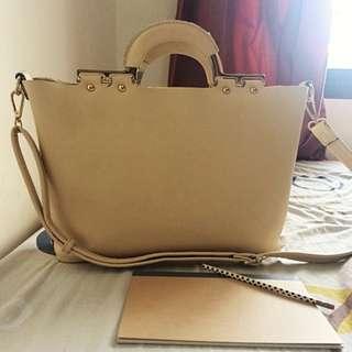 Beige Sling Bag with smaller bag inside