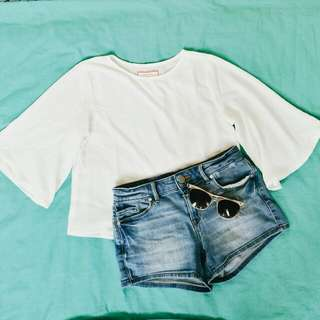 Bell-sleeve White Top by GTW