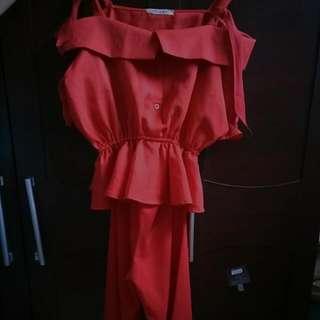 Peplum Red (new) Dan Celana Kulot (Preloved)