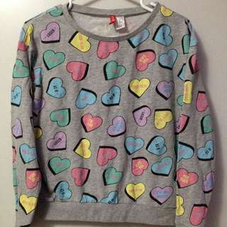 H&M CONVERSATION HEARTS SWEATER