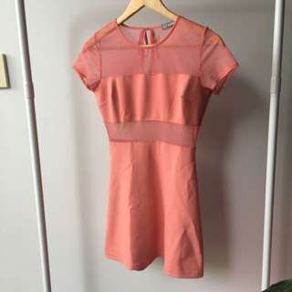 Size S Peach A-line Mesh Dress