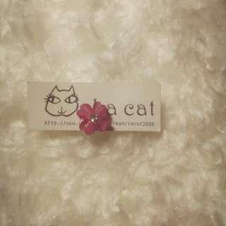 清純桃粉小花 夾式耳環