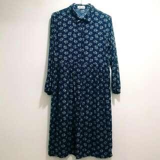 小碎花長袖襯衫長洋裝