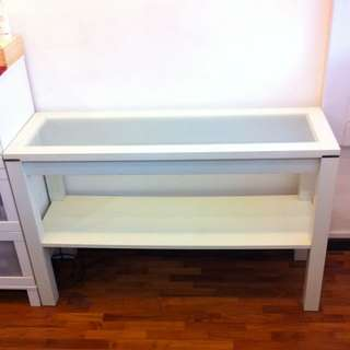 White Vanity Glass Top Table