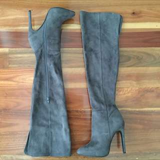 Atmos&Here Knee High Grey Suede Leather High Heels Size 6