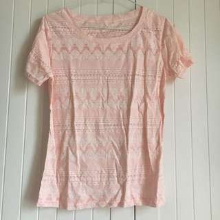 日系粉紅色變形蟲圖騰短袖T-shirt
