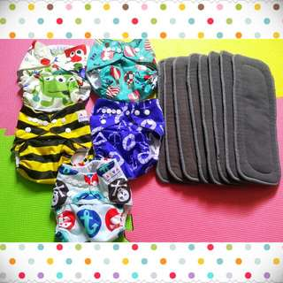 5 pcs. Alva Cloth Diaper and 8 pcs. 5-layer Bamboo Charcoal Insert